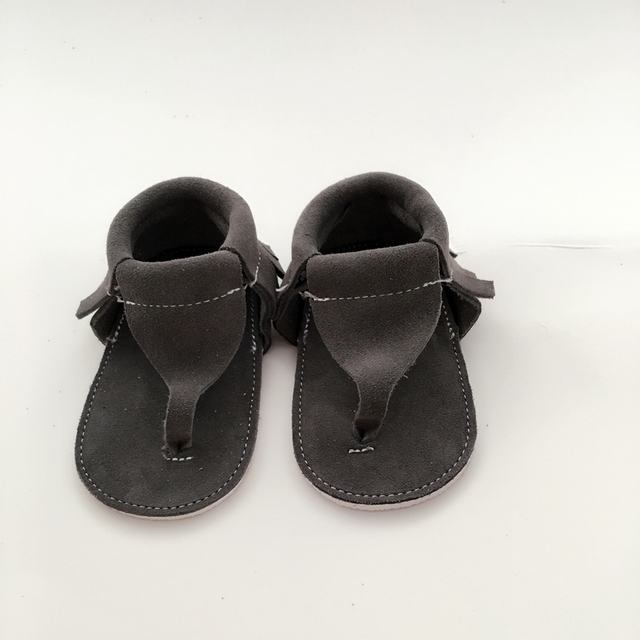 Handmade Grey First Walkers Genuine Leather Infant shoe
