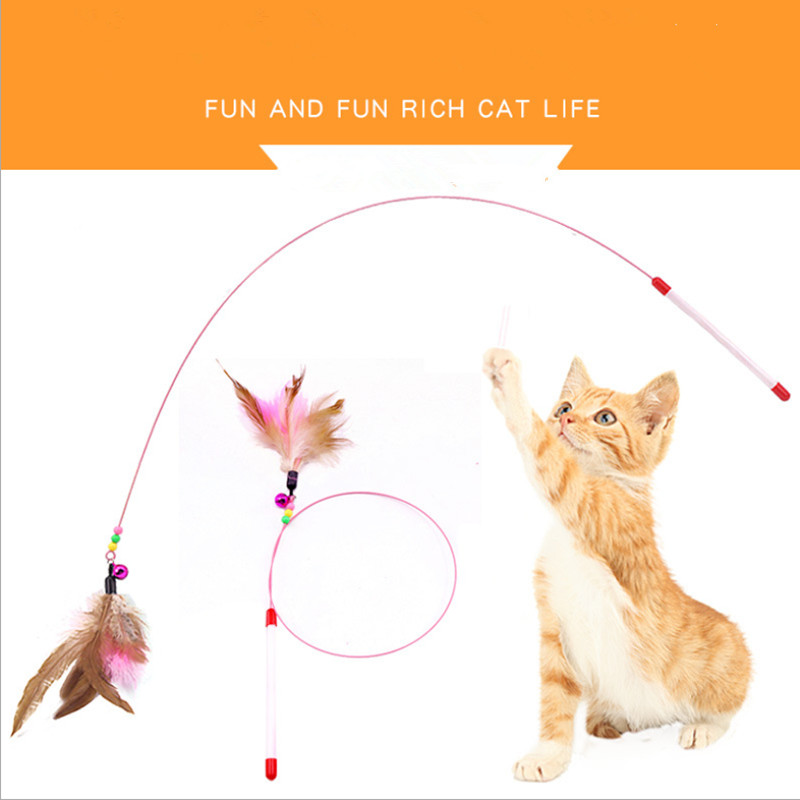 1 Pcs Feather Cat Toys Funny Bell Rod for Kitten Playing Interactive Toy Products Pet Supplies