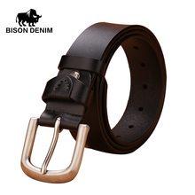 BISON DENIM 2016 Fashion Men Belt Luxury 100% Genuine Leather Belts For Men pin buckle Strap male Jeans cowboy N71021-1B