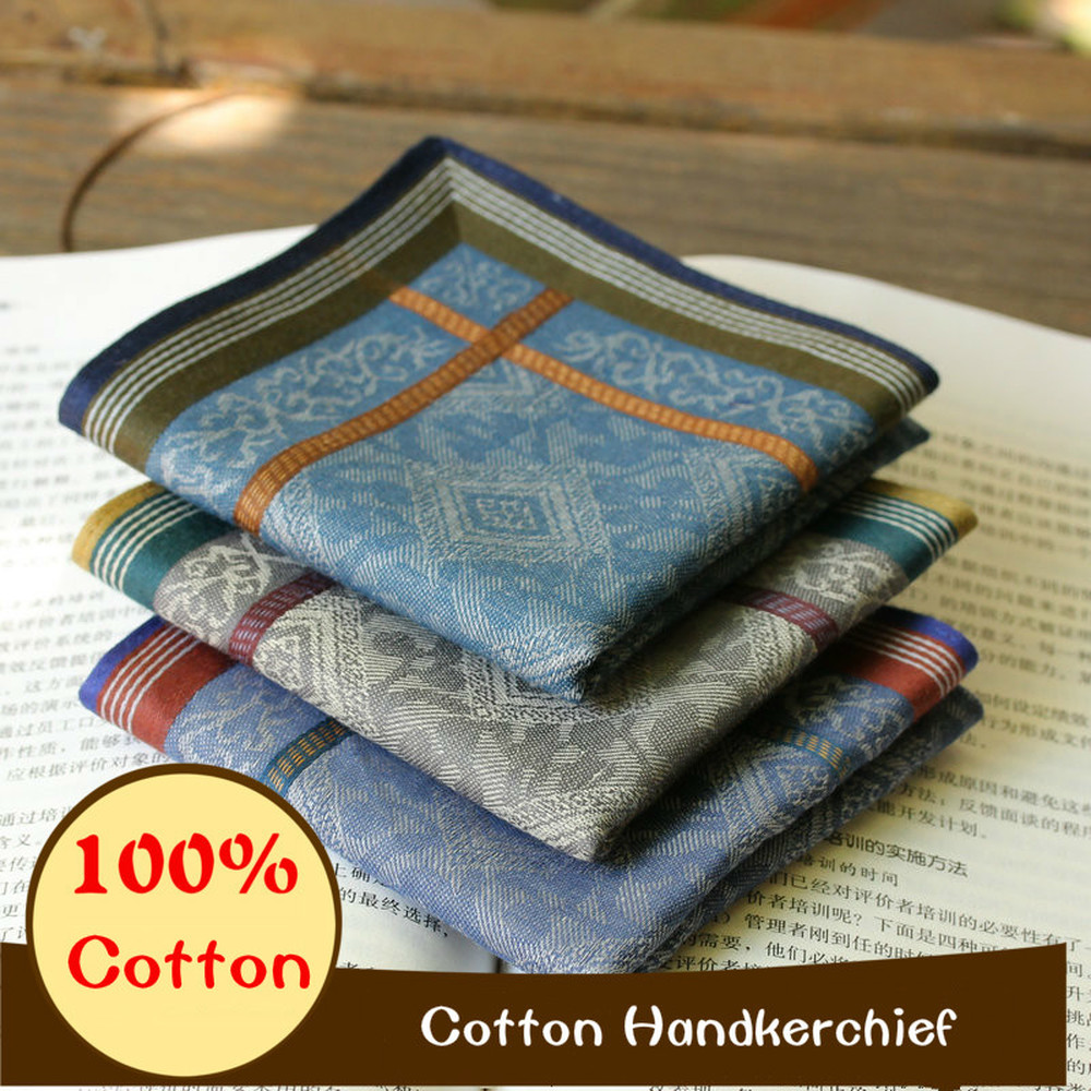 Embroidery Ancient Style Cotton Handkerchief Classic Pattern Men Plaid Cotton Sweat-absorbent Handkerchief Gifts For Men
