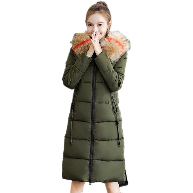 Long Winter Jacket women Coat Slim Thick Women's Warmer   Parkas   Large Size 7XL Girls Cotton Jacket Solid   Parka   Female OutwearG177