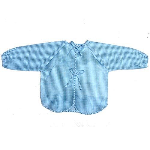 Ребенка с длинным рукавом фартук в целом Еда Catcher Bib Водонепроницаемый, синий
