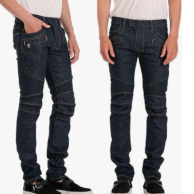 Men Straight Denim Jeans Trousers Slim Ripped Jean Skinny Biker Pants