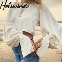 2019 Women Ivory Satin Crop Tops Long Lantern Sleeves Vintage Blouse Imitation Silk Blouse Oversize Tops