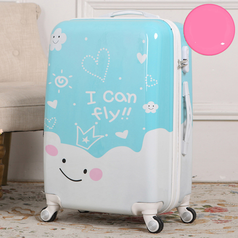 LeTrend 24 inch cartoon rolling luggage Spinner suitcase Wheels children trolley travel bag trunk students carry on luggage