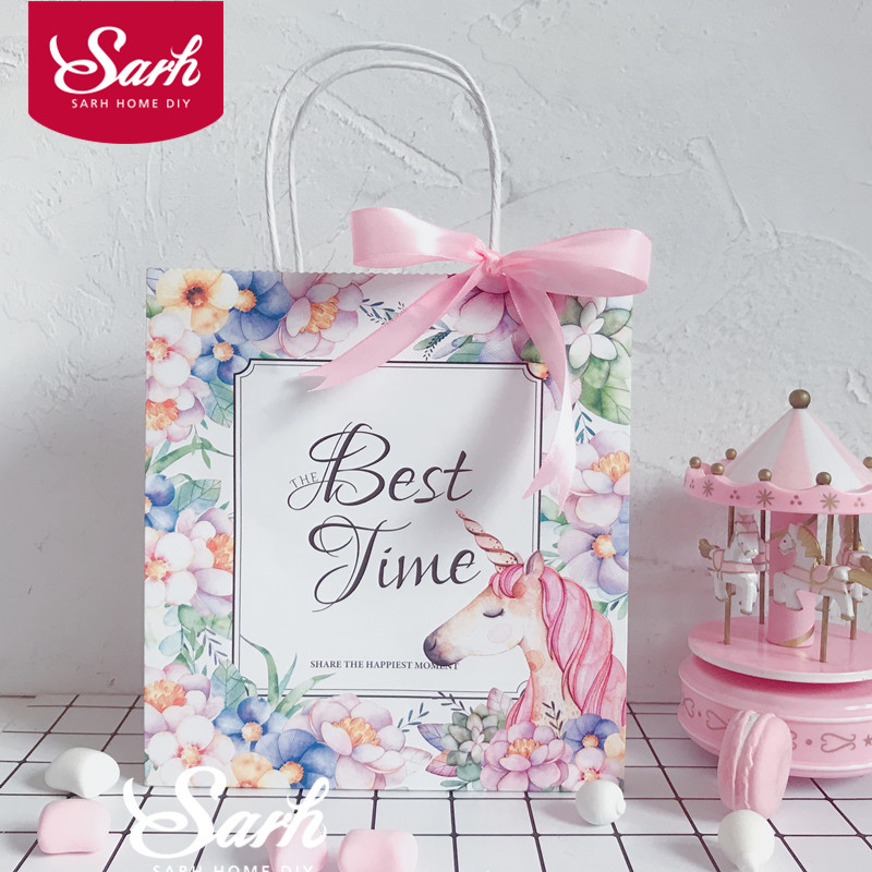 10Pcs/pack Pink Unicorn Flower Best Time Hand Bag Candy Boxes Gift Boxes for Baking Decoration Package