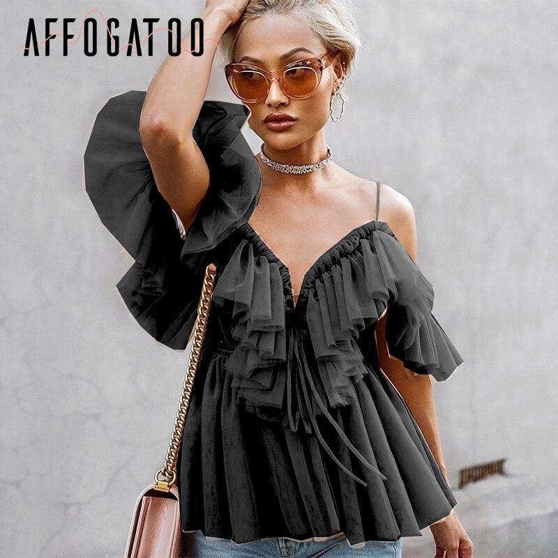 Affogatoo Sexy deep v neck backless vintage women summer blouse Elegant ruffle off shoulder shirt tops female Mesh blouse blusas