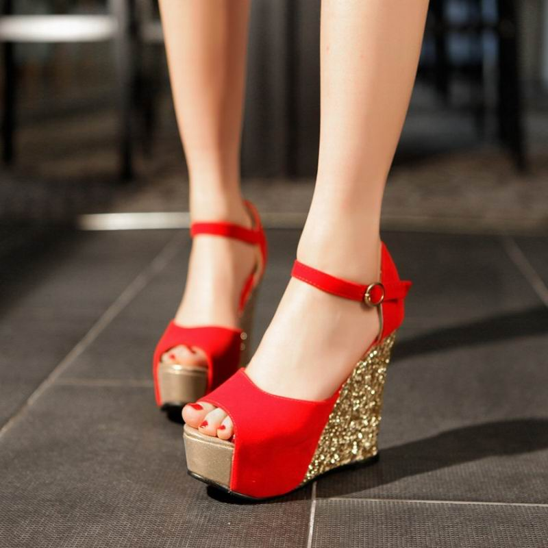Summer Tideway Nice Women Wedges Sandals High Heels Open Toe Shoe Scrub  Paillette Red Wedding Shoes - Popular Red Wedge Sandal-Buy Cheap Red Wedge Sandal Lots From