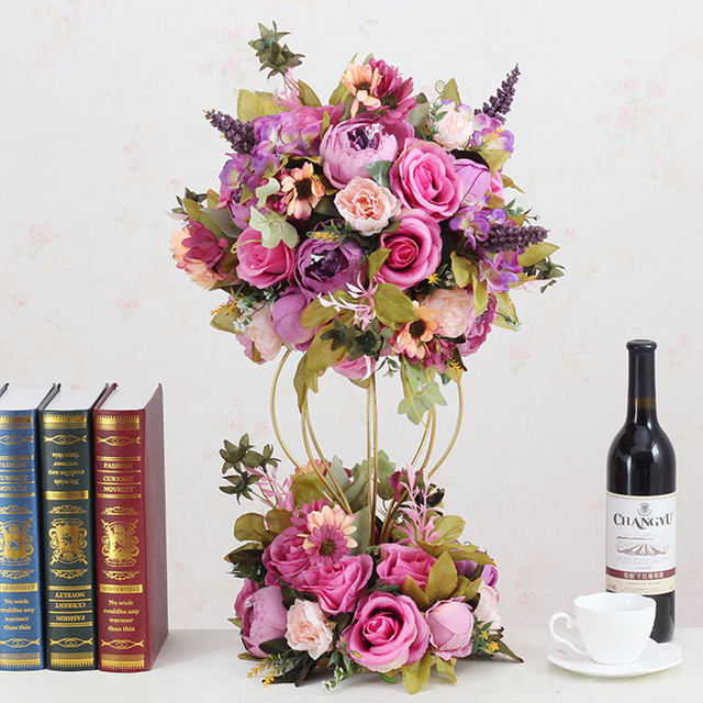 Hot Price #e7ae JAROWN Artificial Flower Ball Flower Stand