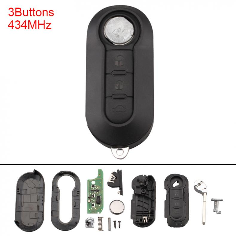 sourcing map 3 Button Uncut Insert Key Fob Remote Control Case Shell Replacement