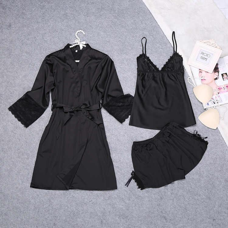 2019 Primavera Verano bata pijamas mujeres 3 piezas Correa Top pantalones conjunto ropa de dormir Casual ropa de dormir Sexy Baño vestido M-XXL