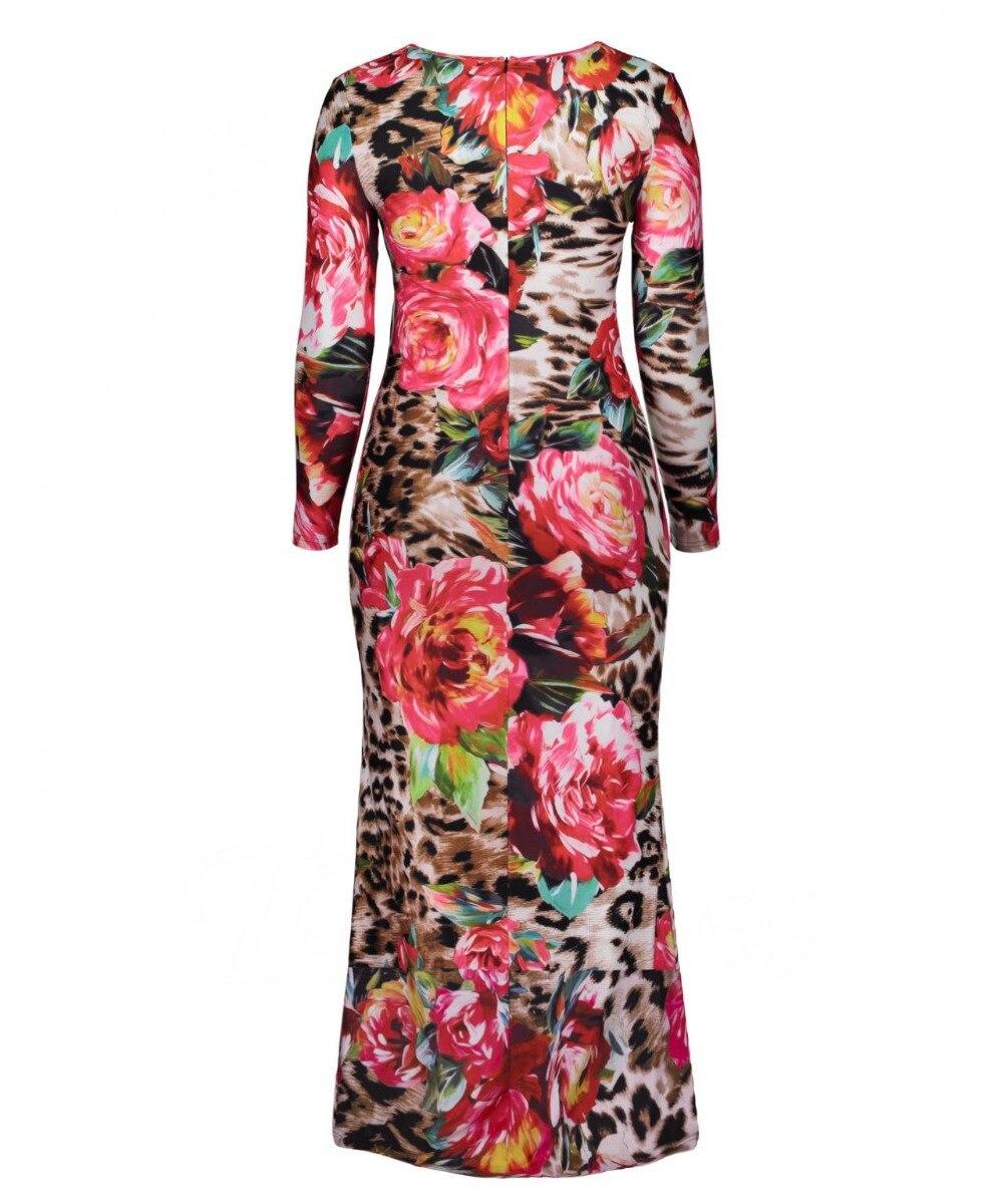 Otoño Impresión Floral De 4xl Maxi Tamaño Las Redondo 3xl longitud Casual Cuello Primavera Mujeres Piso Elástico Grande 2019 Vestido Largo Plus CfZq6PwP
