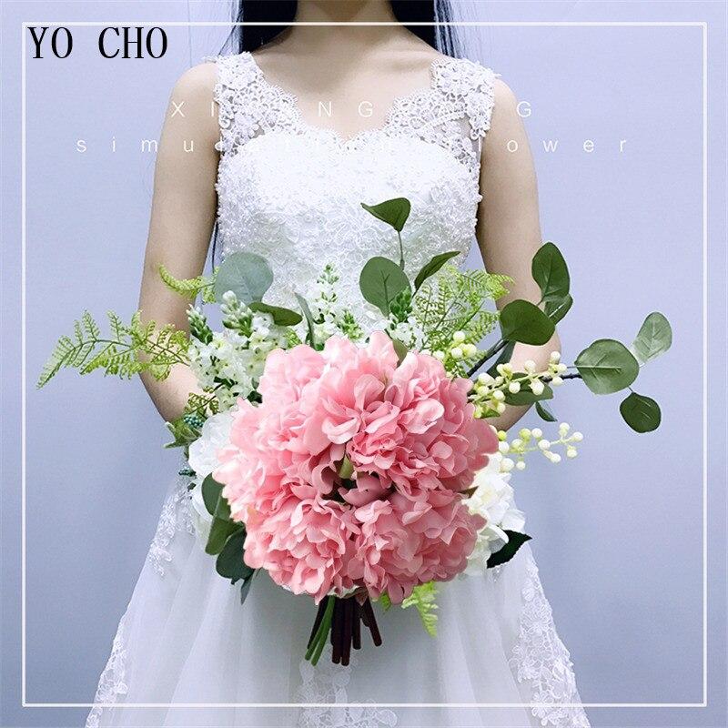 YO CHO White Wedding Bouquet Artificial Peony Bridesmaid Hand Flower Polyester Rose Wedding Bridal Bouquet DIY Wedding Accessory