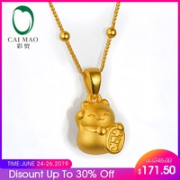 CAIMAO 24K Pure Yellow Gold Lucky Cat Charm Pendant Real 999 3d Hard Gold Process Fine Jewelry Exquisite Gift