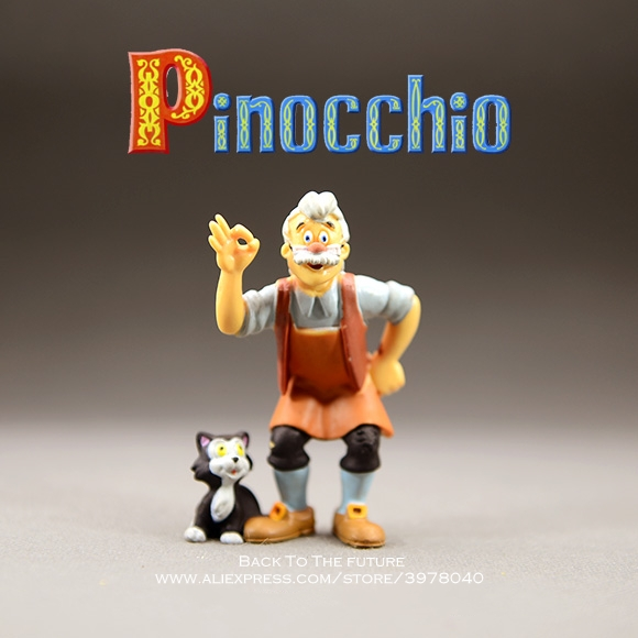 Disney Pinocchio Grandpa And Cat 7.5cm Mini PVC Action Figure Posture Mini Anime Collection Figurine Toy Model For Children
