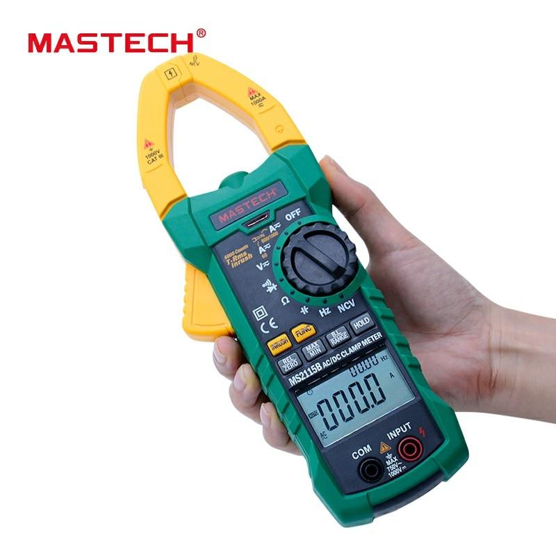 MASTECH MS2115B atual Digital clamp meter AC/DC trms NCV tensão atual 6000 Contagens USB mulitimeter clamp meter tester 1000A