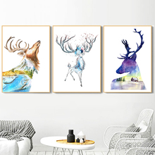 все цены на Watercolor Deer Abstract Forest Wall Art Canvas Painting Nordic Poster And Prints Animal Wall Picture For Living Room Home Decor онлайн