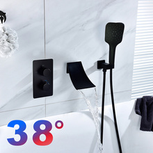 38°C Shower faucets bathtub faucet mixer bathroom mixers concealed constant temperature faucets Black shower bath sets цена