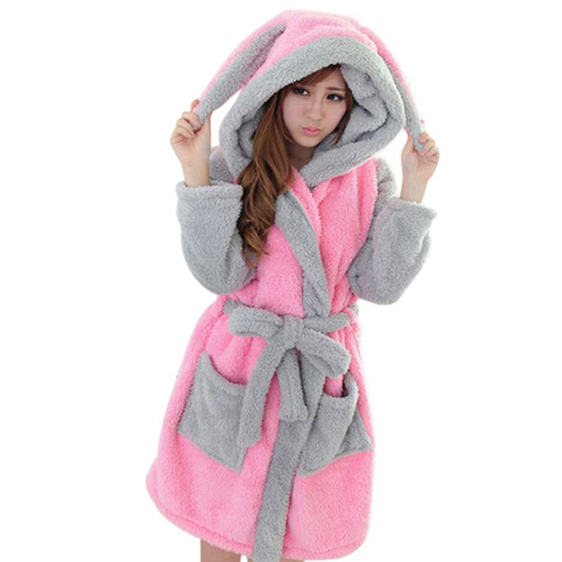 Hot Sale Winter Sleepwear Lady Pajamas Bath Robe Women Coral Velvet Bathrobes Women Cartoon Panda Homewear ...