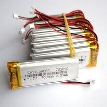 10 sztuk/partia JST 1.25mm 2 pin 3.7V 700mAh 702050 litowo-polimerowa LiPo akumulator do Mp3 DVR PAD DVD bluetooth camera