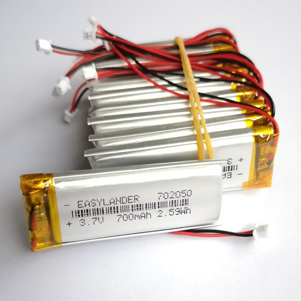 10Pcs/Lot JST 1.25mm 2 pin <font><b>3.7V</b></font> <font><b>700mAh</b></font> 702050 Lithium Polymer <font><b>LiPo</b></font> Rechargeable <font><b>Battery</b></font> For Mp3 DVR PAD DVD bluetooth camera image