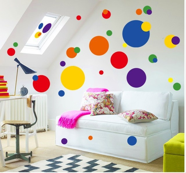 Colorful Circle Wall Sticker Bathroom Kitchen 7158 Decorative Removable Pvc Wall  Decals Home Decor Creative Colorful