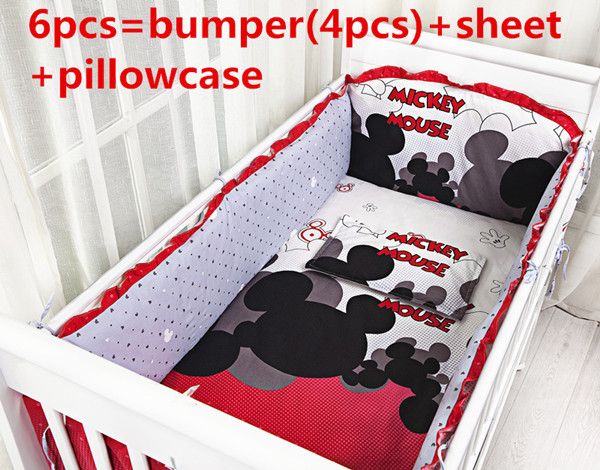 Promotion! 6PCS Mickey Mouse Home Textiles Cotton Girl Baby Bedding Set for Children Cradle,include(bumpers+sheet+pillow cover)