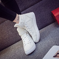 Han edition 2017 fall high help female canvas shoes sport casual shoes with flat sandals hook loop students small white shoes
