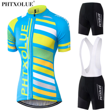 Phtxolue Summer Women MTB Bike Cycling Clothing Breathable Blue Bicycle Wear Maillot Ciclismo Jersey Sets