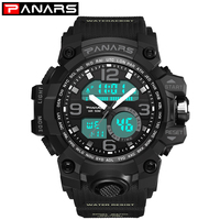 PANARS Men Digital Watches Swimming Water Resistant G Style LED Men's Watch Stopwatch Fitness Sport Wristwatch 8011 Alarm