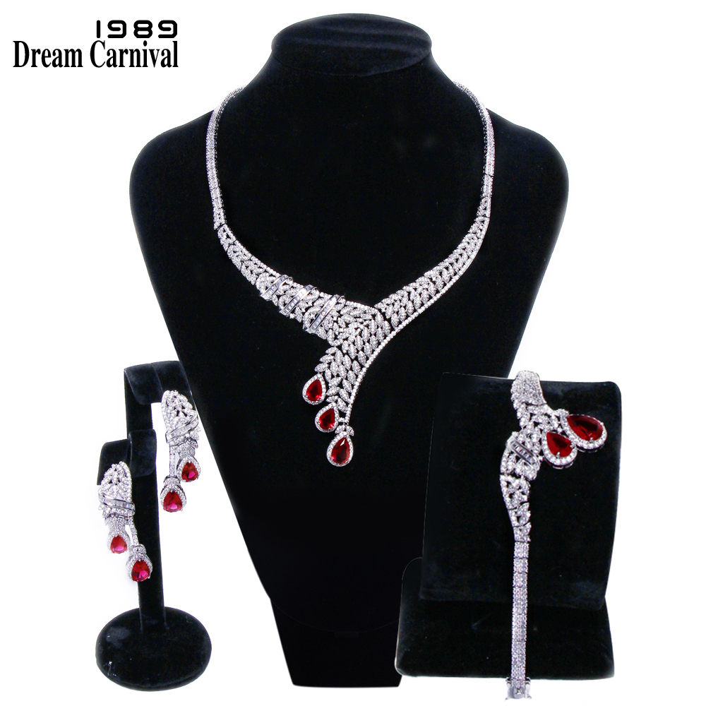 DreamCarnival 1989 Princess Deluxe Wedding Party Red Drop Cubic Zirconia AAA Quality 3 pieces Set for Women Marriage SN04156SIX