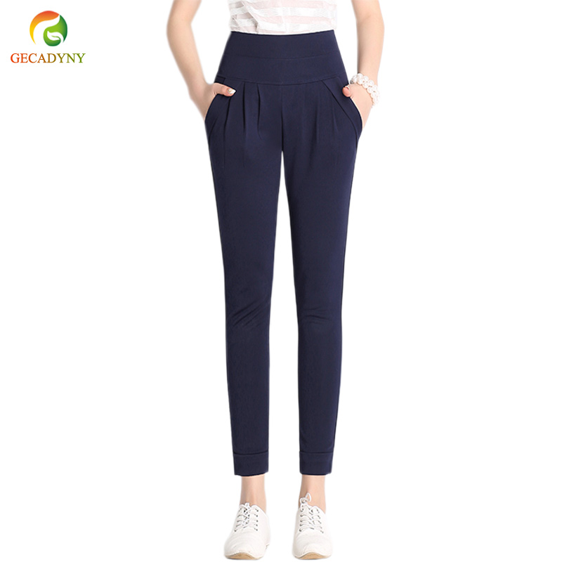2018 Summer Plus Size S-6XL Women   Capris     Pants   High Waist Elastic Women Casual Harem   Pants   Cropped Trousers Skinny   Pants     Capris