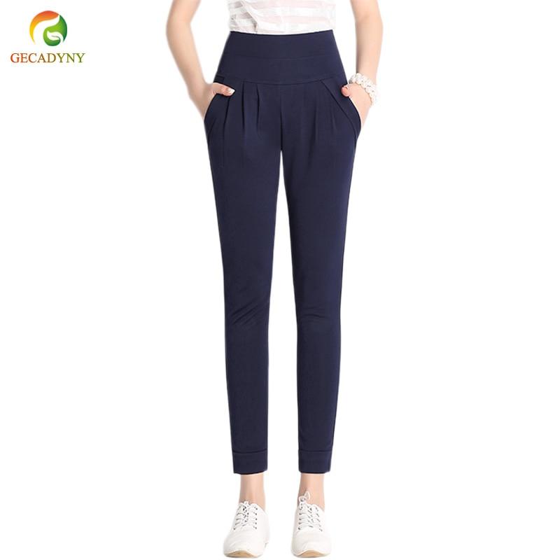 2019 Summer Plus Size S-6XL Women   Capris     Pants   High Waist Elastic Women Casual Harem   Pants   Cropped Trousers Skinny   Pants     Capris