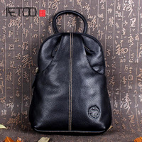 AETOO Handmade Leather Leather Backpack Shoulder Bag College Style Retro Women Mini Backpack