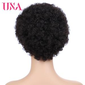Image 3 - UNA קצר שיער טבעי פאות ללא רמי שיער טבעי פאות 120% צפיפות פרואני תלתל שיער טבעי האפרו פאות עבור מלא מכונת עשתה פאות
