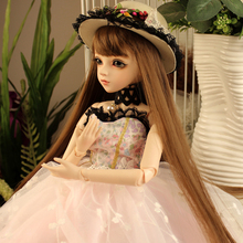 цена Fantasy BJD Doll Long Hair Beautiful Clothes 60cm Bjd Dolls Girl Birthday Gift Toys BBGirl SD Doll Baby Costume Makeup Dolls онлайн в 2017 году