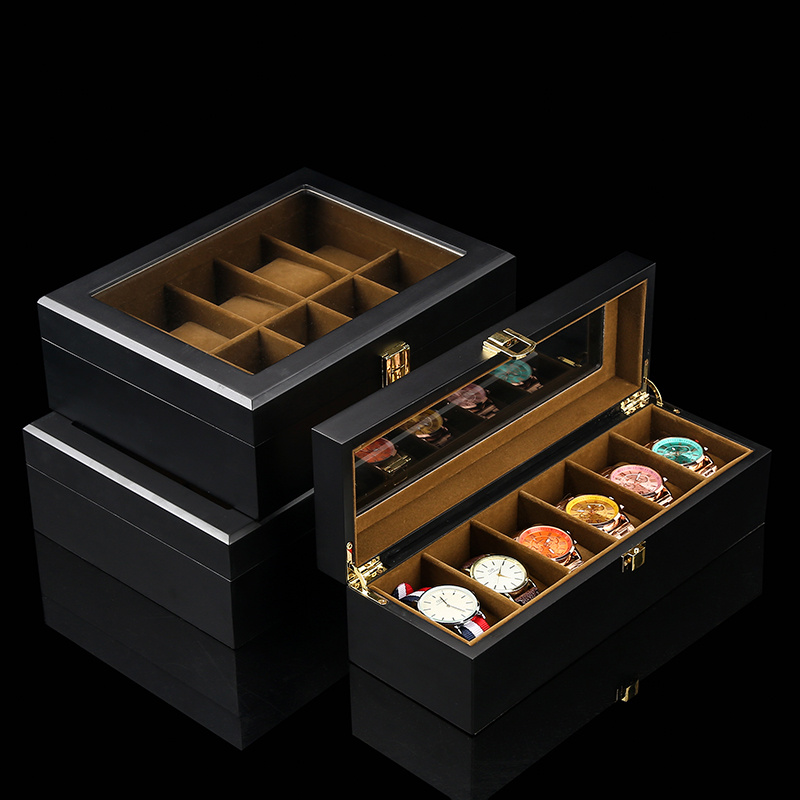 European Style Watch Storage Box Wood Black Mechanical Watch Display Box Case With Glass New Women Jewelry Gift Case Holder