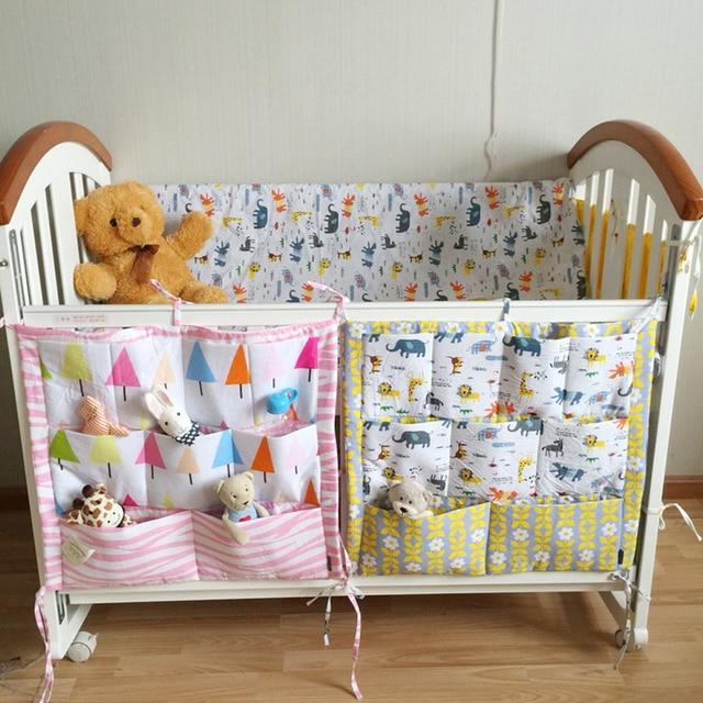 Crib Baby Bed bumper Hanging Storage Bag Multi-functional muslin Baby Cot pocket Hanging Storage Bag Baby Bedding Bumper 55*60cm