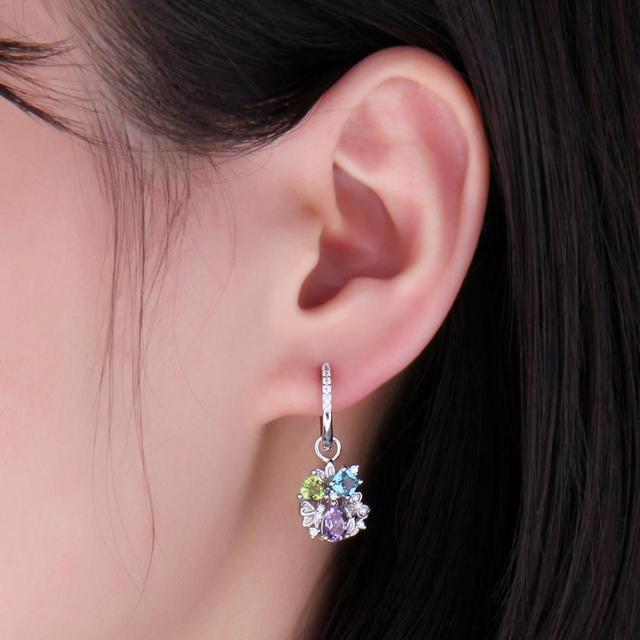 Genuine Amethyst Peridot Sky Blue Topaz Dangle Earrings