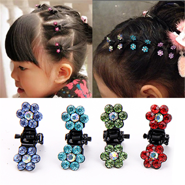 10 PCS New Baby Mini Plum Crystal Hair Claws Hairpins Girls Hair Accessories Children Hair Clips Kids Headwear Princess Barrette hair ornaments claws headwear accessories girls imitation crystal metal bow hair claws clip crab claw ulet hair clips for women
