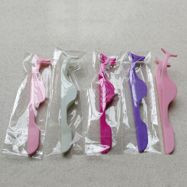 1pcs Plastic Eyelashes Extension Tweezers Auxiliary Clamp Clips Practice Beauty Eye Lash Makeup Tools 1