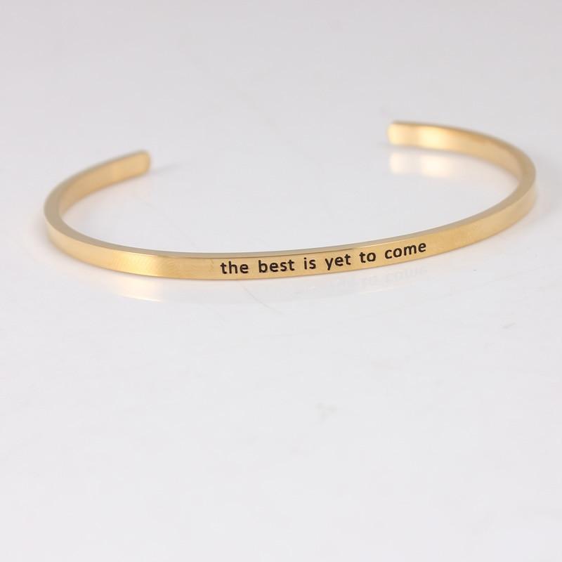 Bracelet de barre d'acier inoxydable de la couleur 316L d'or bracelets pour femme de Mantra de manchette d'inspiration Positive - 4