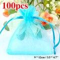 Venda Melhor Preço 2016 100 pçs/lote 12*9 cm Céu azul Pequeno Bolsas Jóias Presente Sacos De Embalagem De Natal Tulle Saco de Organza