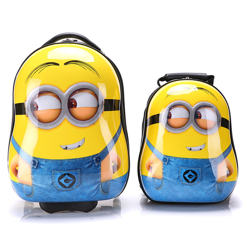 Kids Suitcase on Wheels 3D Minions Hard Shell Children's Trolley ...