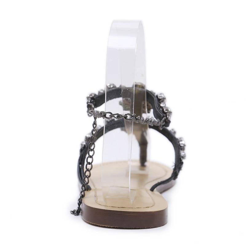 HTB1bRnHaKUXBuNjt a0q6AysXXaH 6 Color Woman Sandals Women Shoes Rhinestones Chains Thong Gladiator Flat Sandals Crystal Chaussure Plus Size 46 tenis feminino
