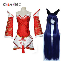 Coshome LOL Ahri Cosplay Costumes The Nine Tailed Fox Red Dress Women Adults Tops Skirts Wigs Set