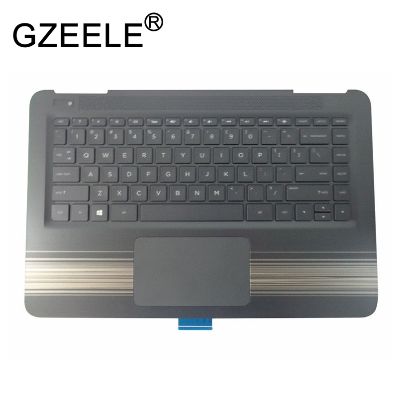 GZEELE new for HP Pavilion 14-AL series Palmrest Top Case Assembly upper cover keyboard bezel laptop 856190-001 Touchpad Backlit a top cover upper case with backlit keyboard for hp 15 ax102tx 859735 001 black