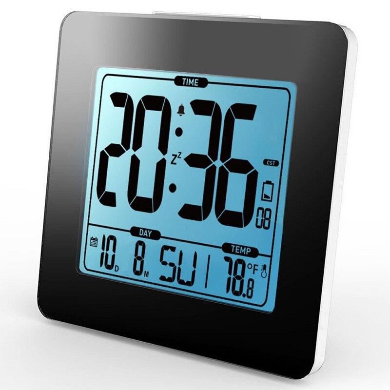 Numérique Alarme Horloge Thermomètre LCD bleu Rétro-Éclairage Calendrier Température Intérieure Mètre Montre Bureau Snooze Minuterie Enfants Table Horloge