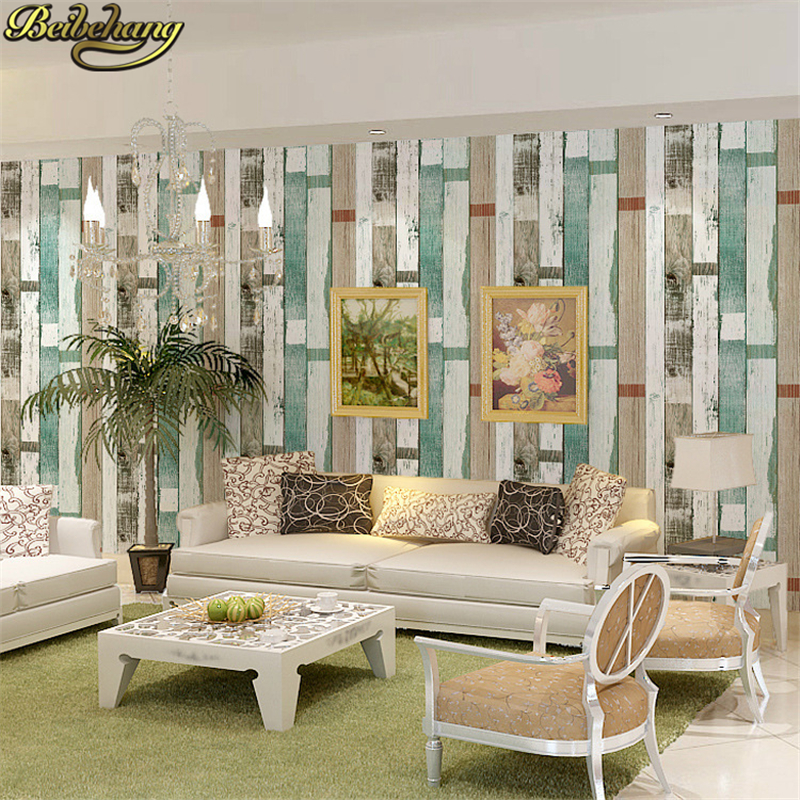 wallpaper living room wall leather sets sale beibehang style striped vintage wood paper 3d bars home decor blue beige white papel de pared