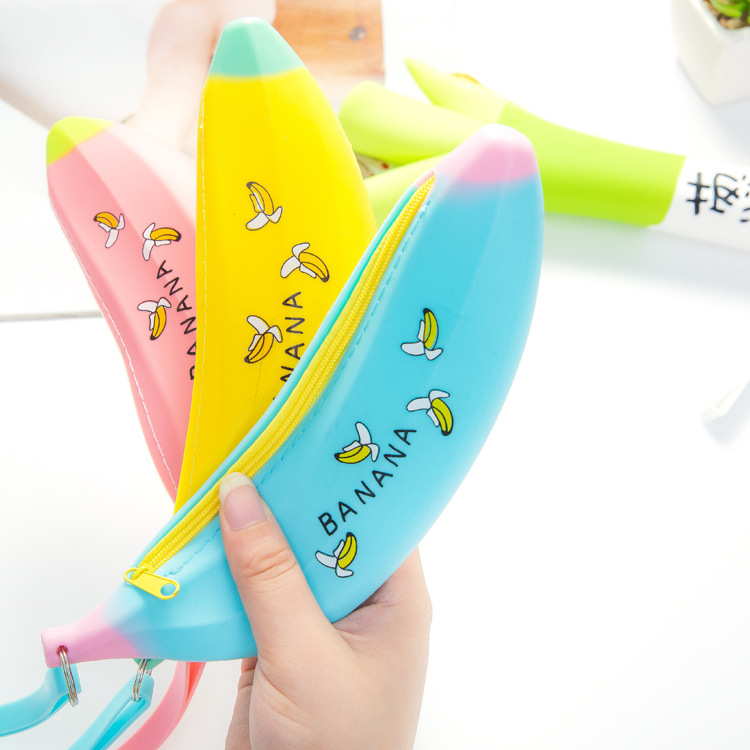 Portable Cute Coin Purse Banana Pencil Case Silicone Purse Children's Purses For Kids Yellow Pen bag For Women Wallet pouch mint student navy canvas pen pencil case coin purse pouch bag jun01